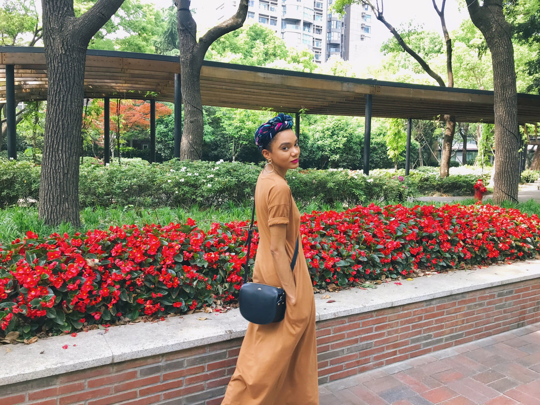 Shanghai street style, t-shirt dress, turban